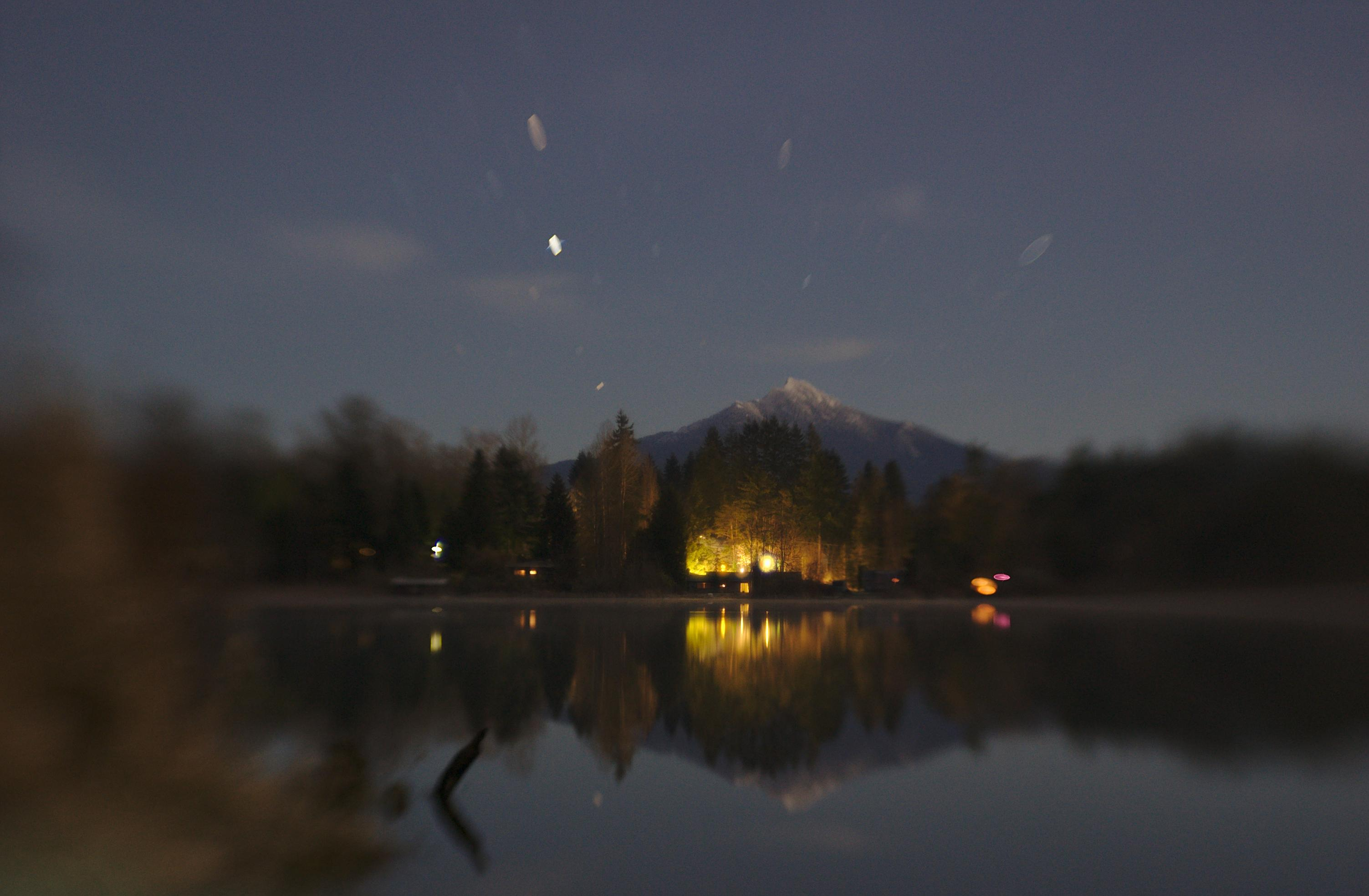 Night photography camping stars mountain lake reflection Lensbaby featured photos