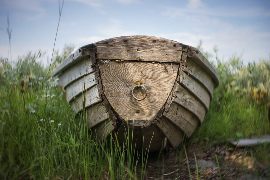 Wooden boat in grass