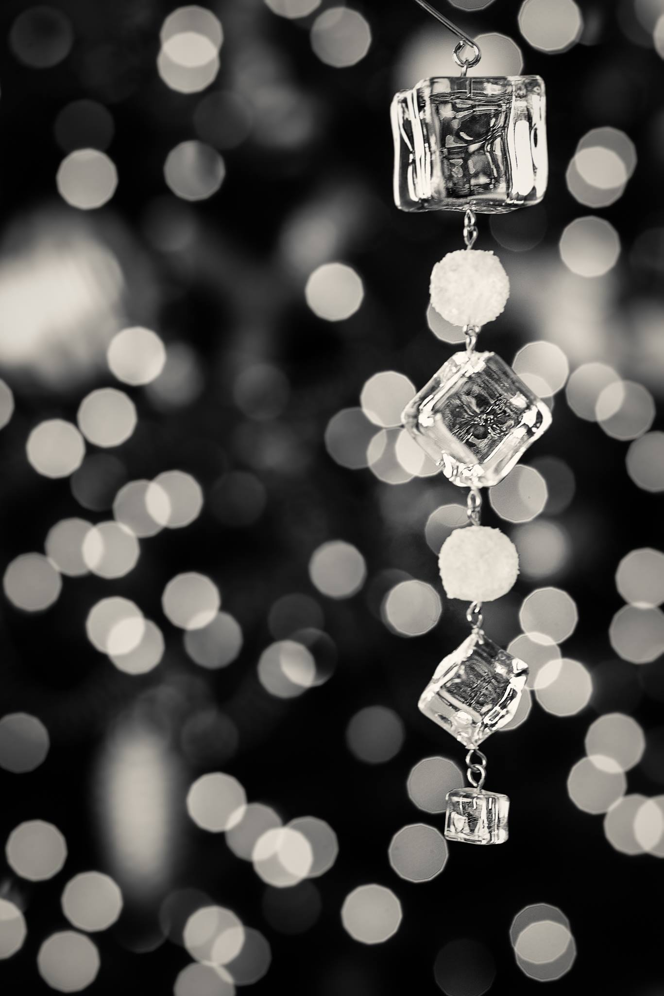 christmas decorations bokeh lights ice cubes black and white lensbaby featured photo of the week