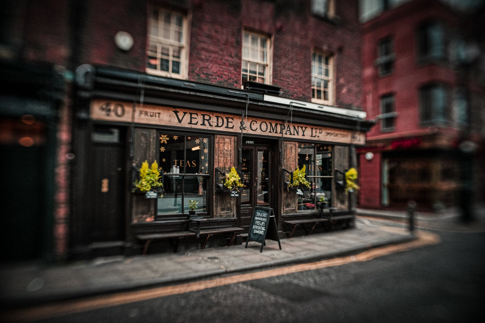 Verde & Company Ltd. street scene green building with plants street photography selective focus Jim Nix Trio 28