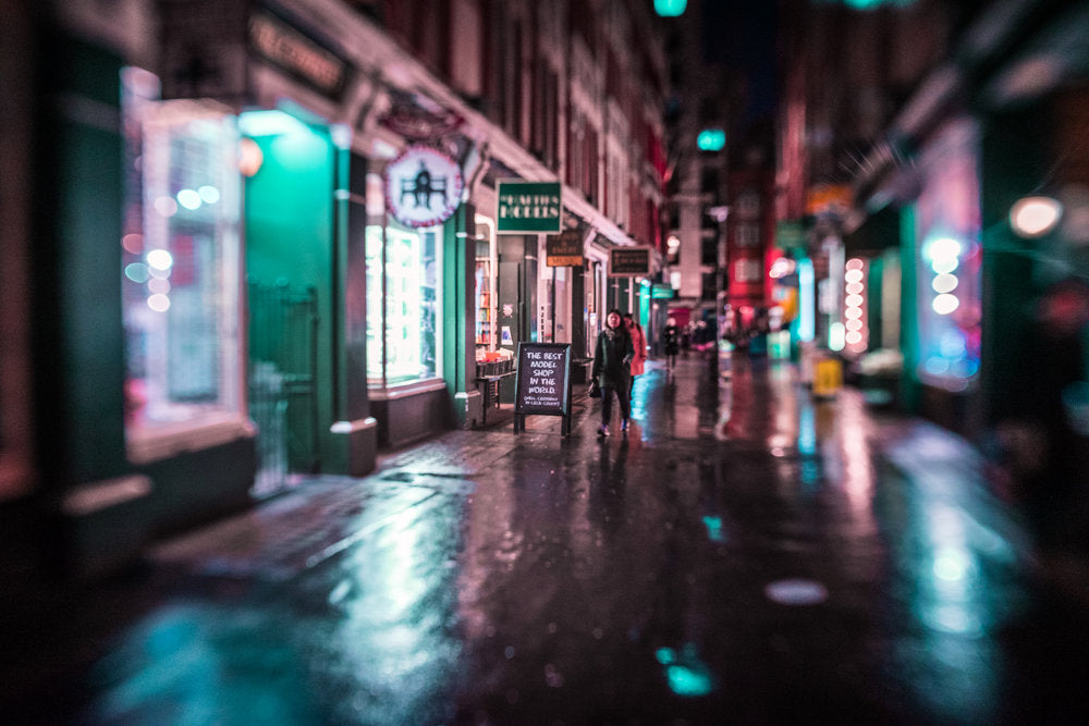 rain soaked city streets at night dark selective focus people walking on street Jim Nix Trio 28