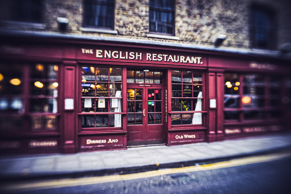 English restaurant red building street photography reflections in window Jim Nix Trio 28