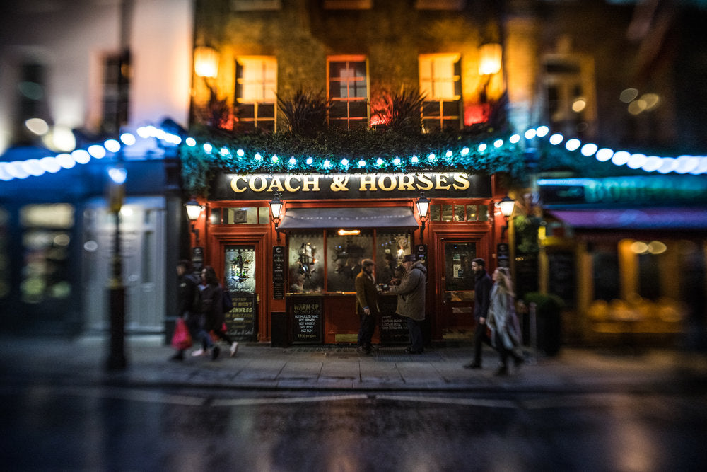 coach and horses street photography street scene at night blue lights bokeh selective focus night Jim Nix Trio 28