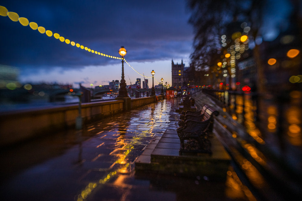 wet city walkway path sidewalk along a river with streetlights blue hour bokeh selective focus Jim Nix Trio 28