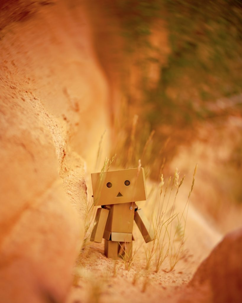 Robot on red rocks
