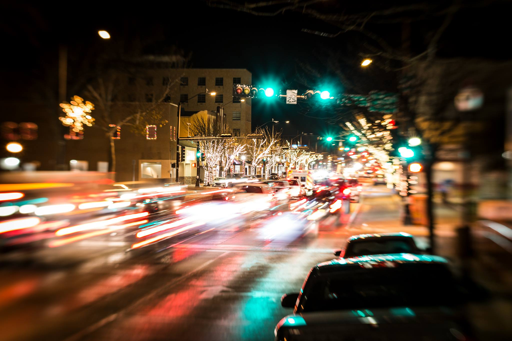 city lights at night busy lights bokeh bright night lights Lensbaby Featured Photos