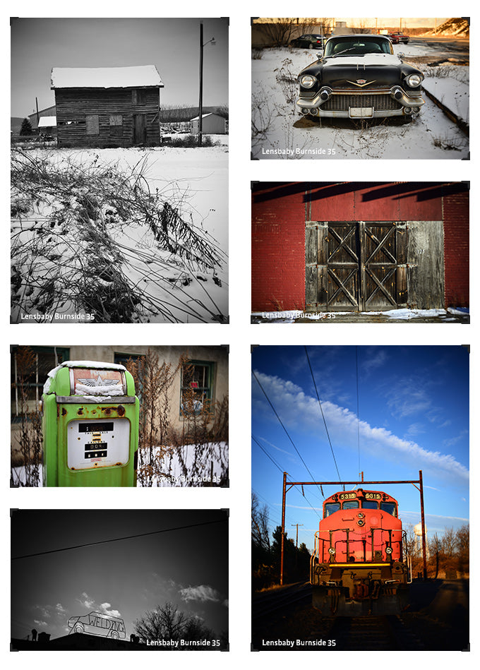 Lensbaby Artists Rich Ormanowski photo grid collage abandoned buildings old car barn train winter snow Burnside 35