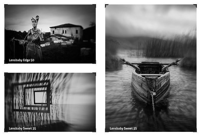 Lensbaby Artists Teo Kefalopoulos black and white selective focus creative effect photography water and boat