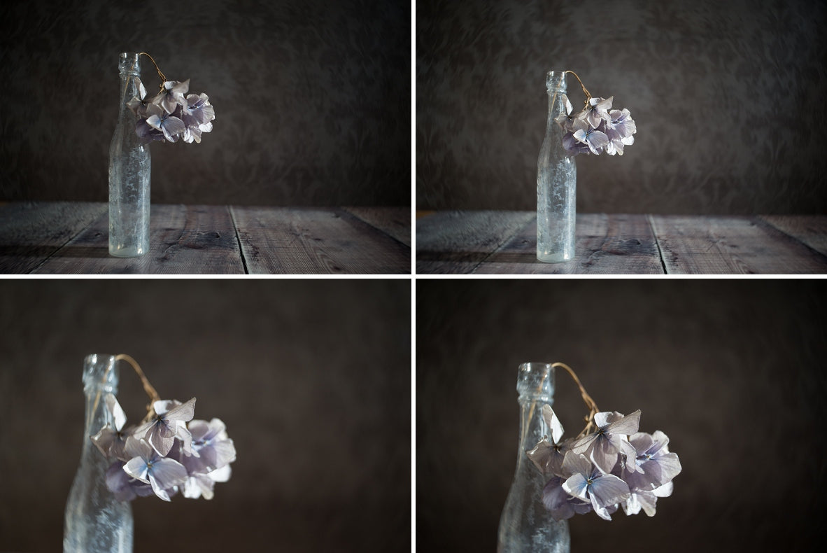 purple flowers drooping out of a foggy vase four image series vignette Janet Broughton Still Life