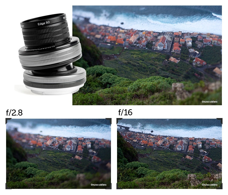 photo collage lens and f stop illustration f/2.8 f/16 Lensbaby edge 50 edge how to