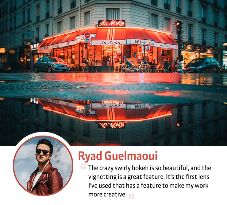 Burnside 35 Paris in a day by Ryad Guelmaoui neon signs on a street corner reflected in a puddle profile with quote