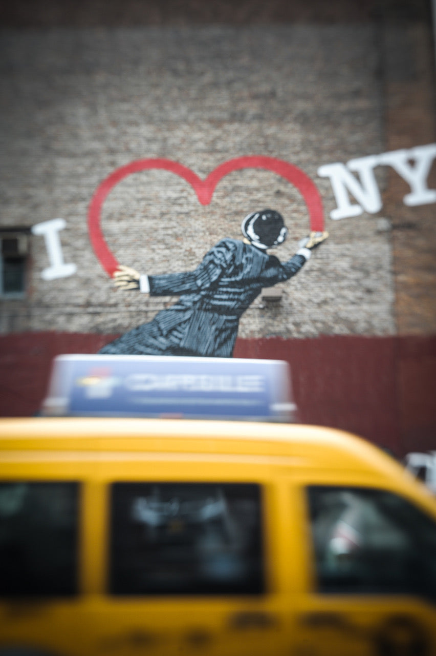 I heart NYC graffiti city taxi scene journey story susan currie