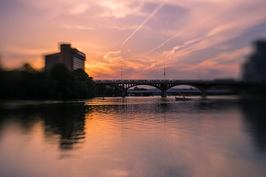 Bridge and river at sunset