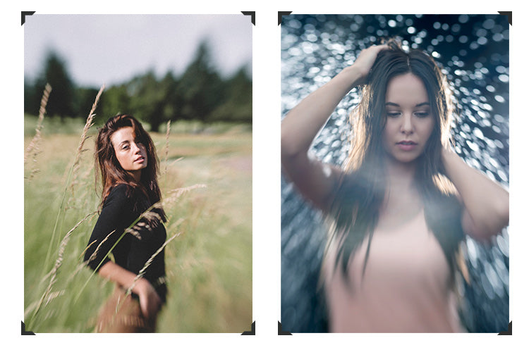 portrait photos woman in grass woman in front of lights sweet spot selective focus photo collage lensbaby sweet optics guide