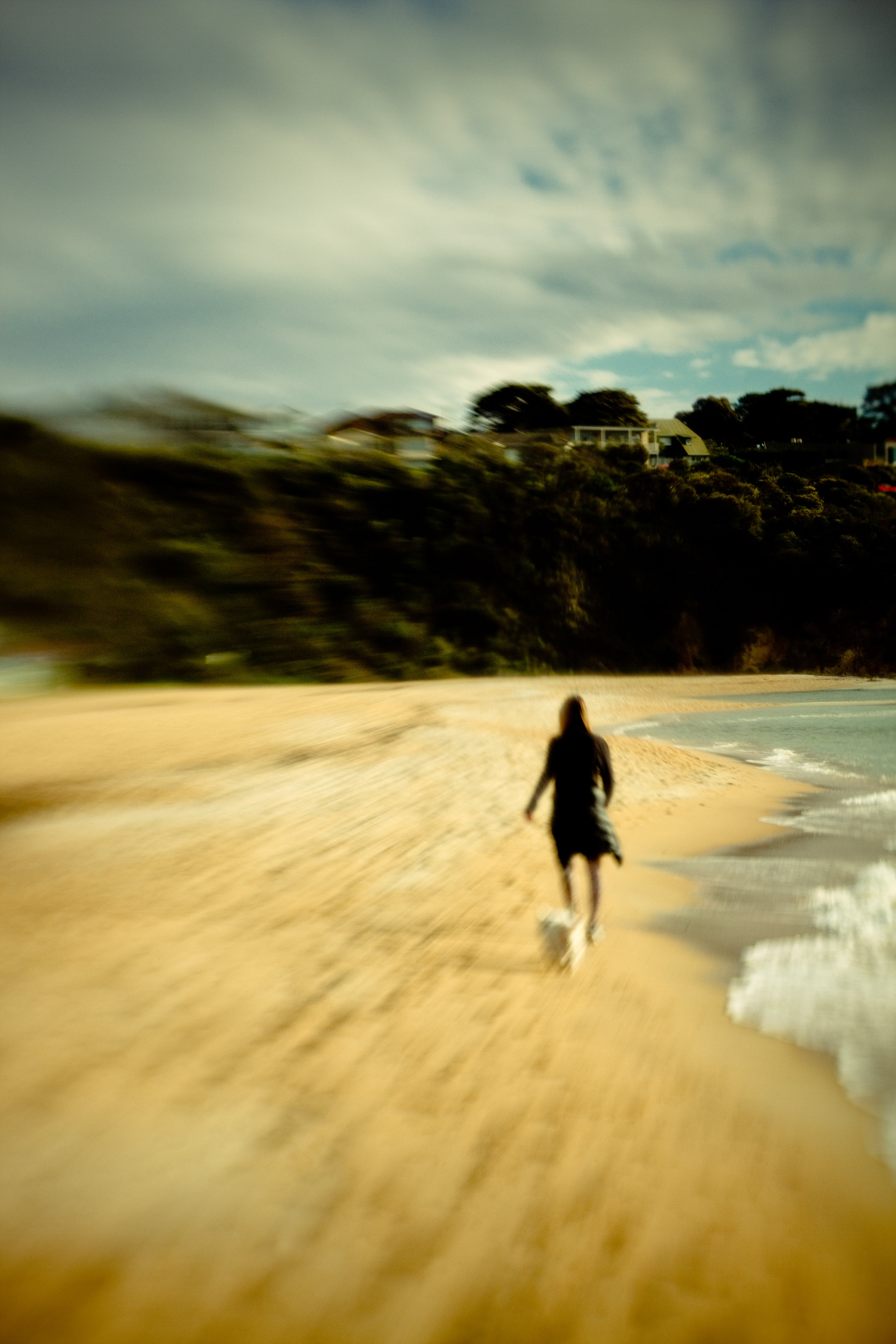 woman with white dog walking on beach blur lensbaby journey story marianne ellis