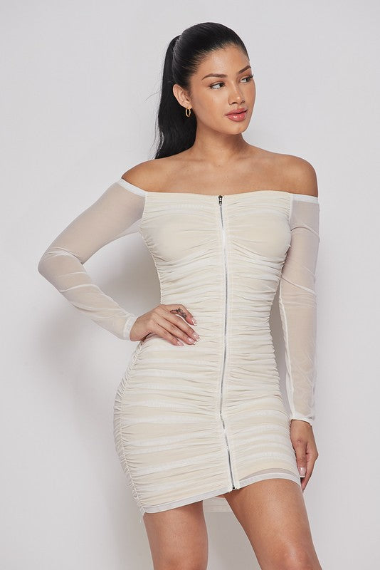 Women's Off the Shoulder Mesh Bodycon Dress- White/Nude
