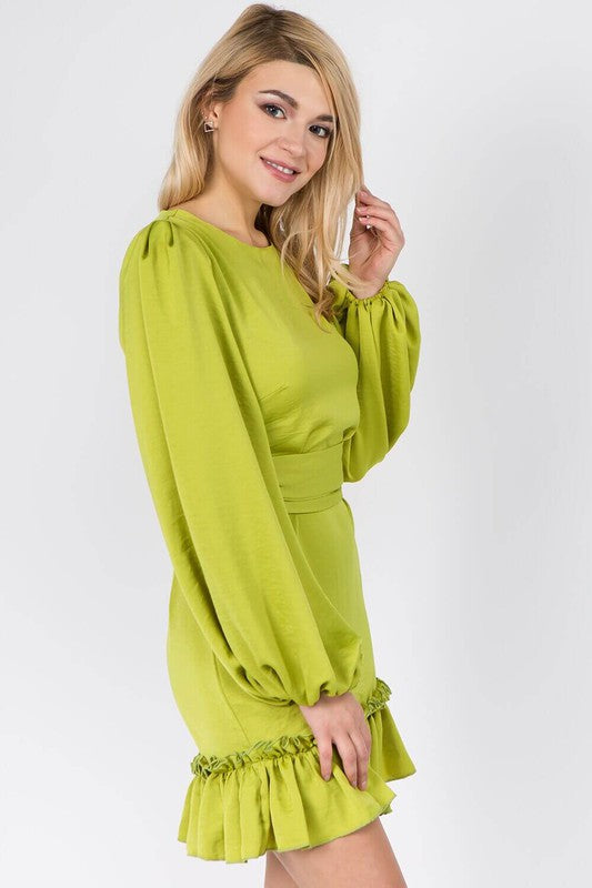 Women's Puff Sleeved Ruffle-Hem Dress