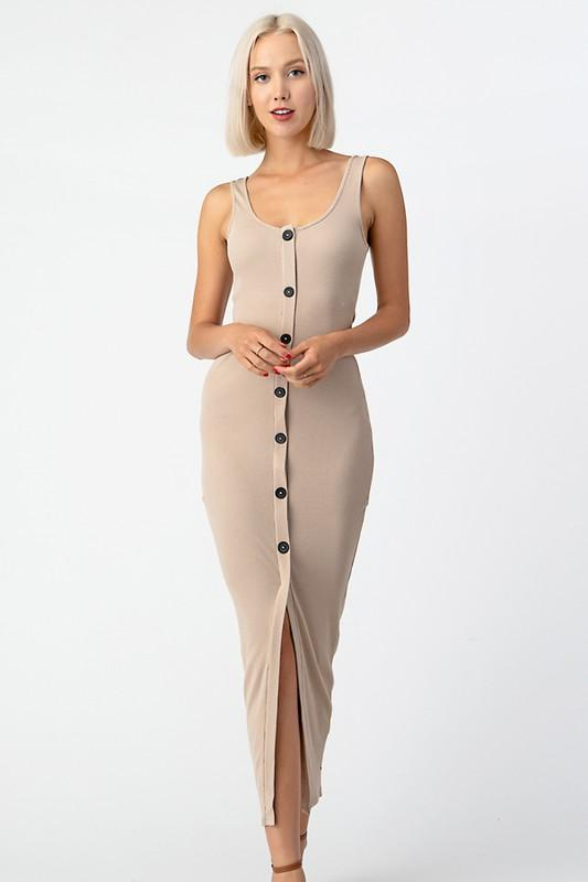 Tan fitted maxi dress with front slit and button down