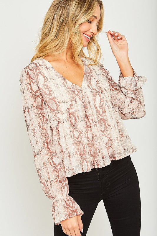 Long sleeve animal print blouse