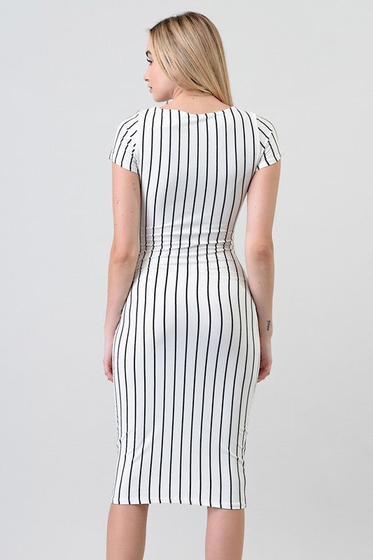 Women's Fitted Striped Midi Dress