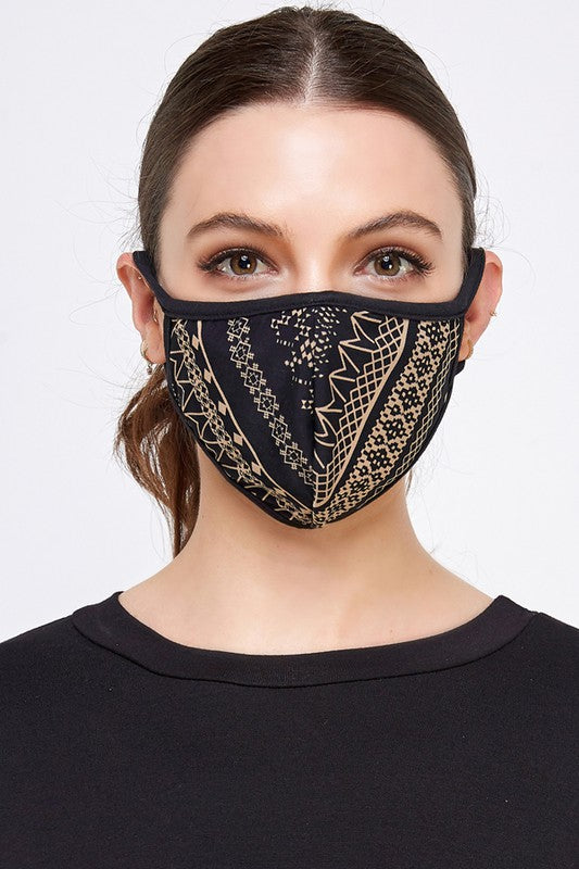 Fashion Face Mask (Taupe/Black)
