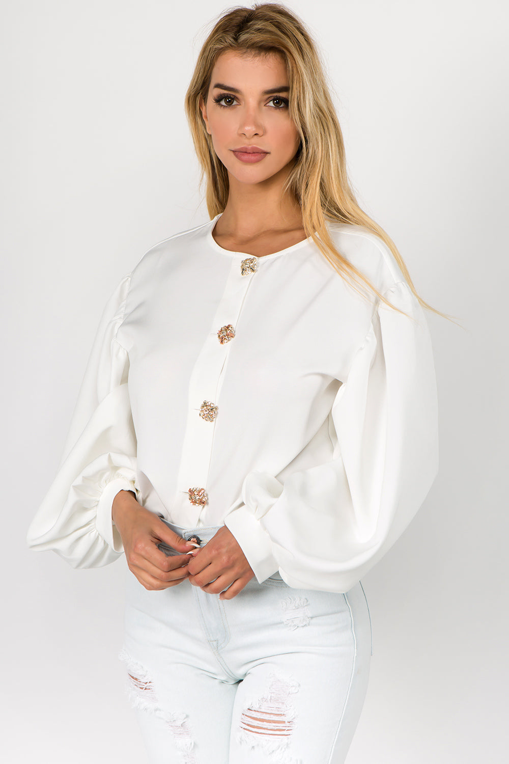 Women's Puff Sleeve Button Front Blouse