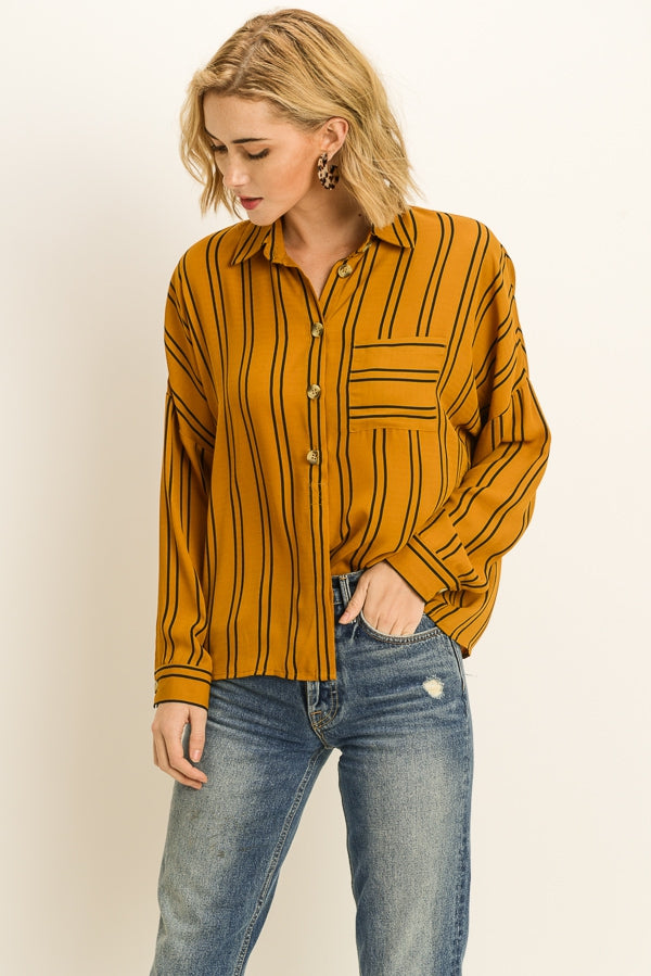 Stripe long sleeve blouse button front and collar neckline