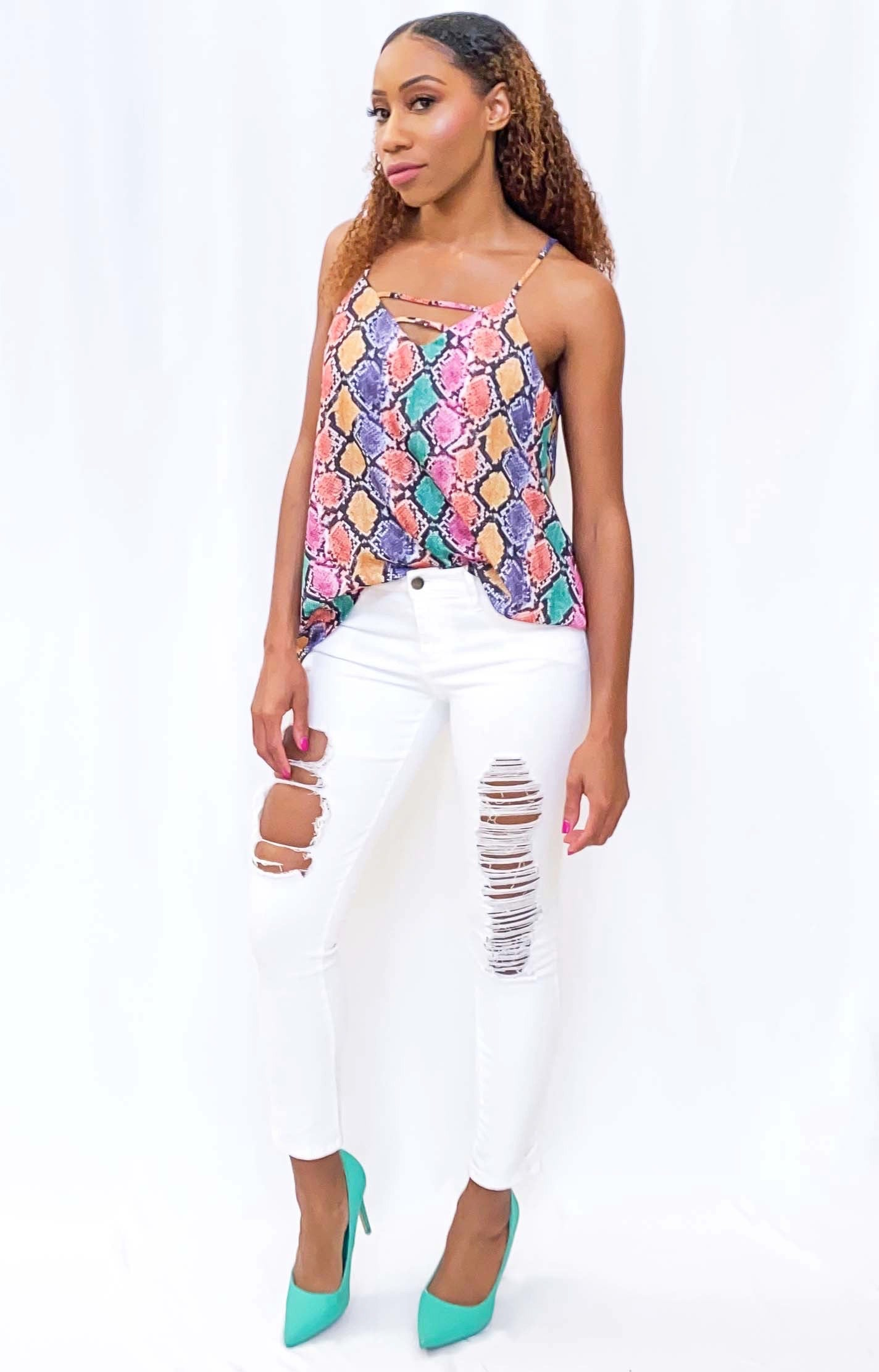 Women's Strappy V-Neck Cami Blouse
