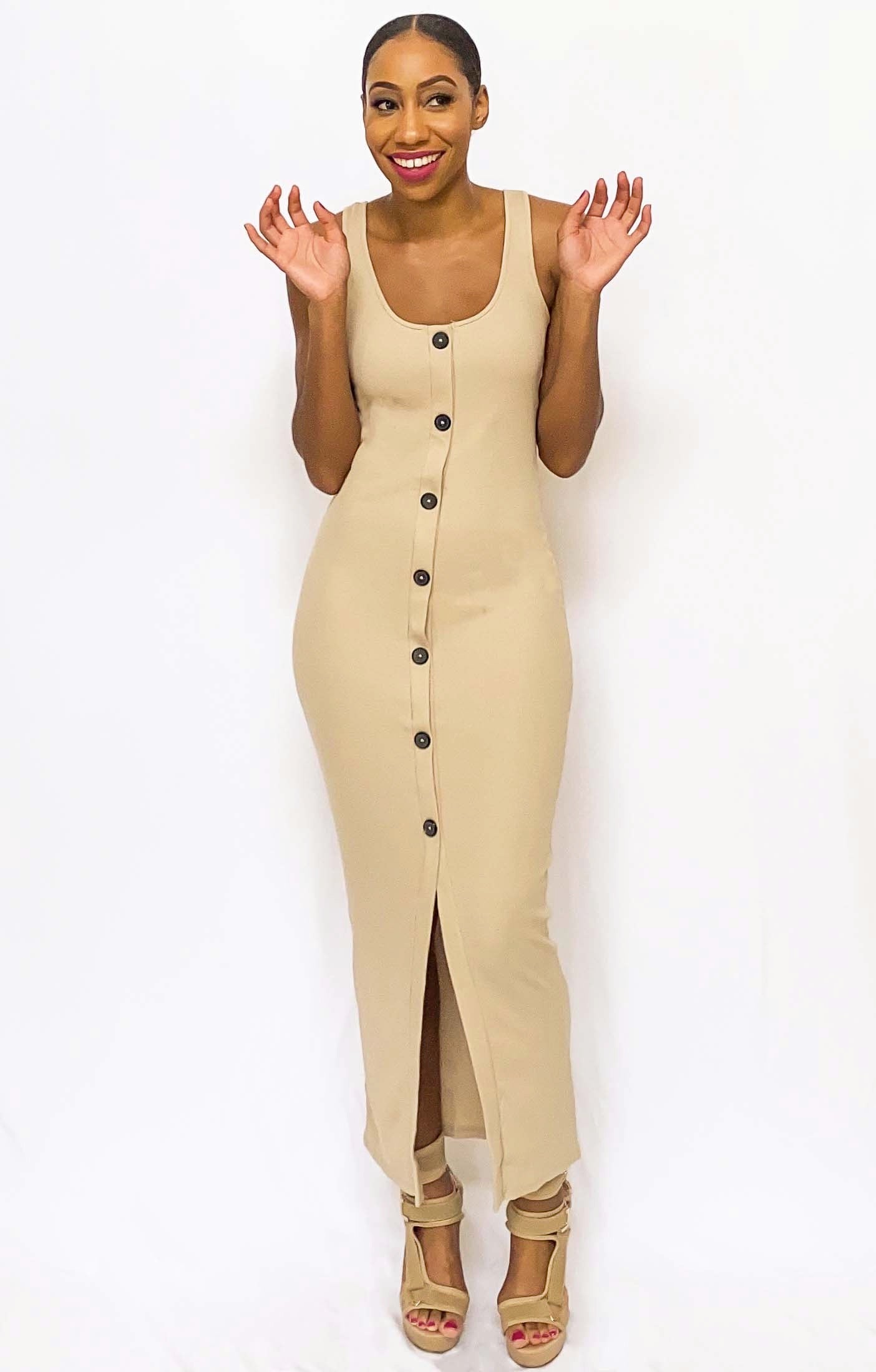 """She Gets What She Wants"" Fitted Maxi Dress (Tan)"