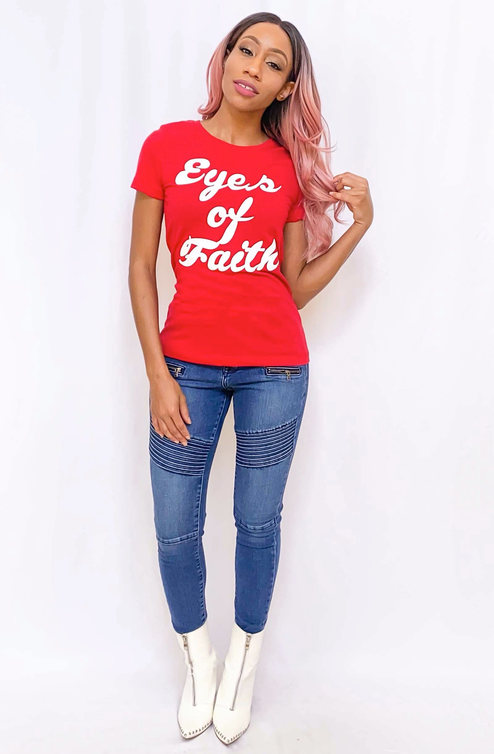 """Eyes of Faith"" Graphic Tee (Red)"
