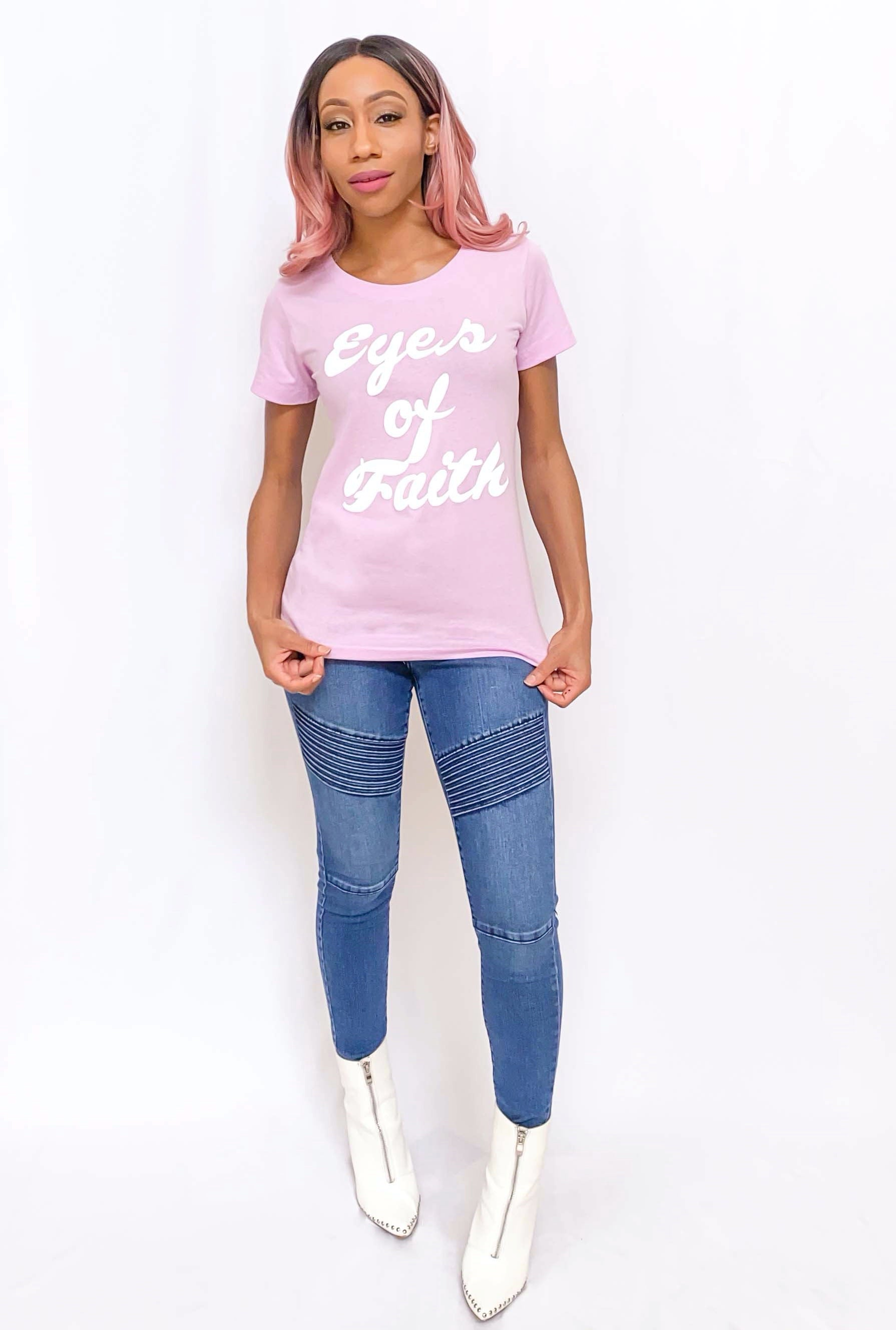 """Eyes of Faith"" Graphic Tee (Lilac)"