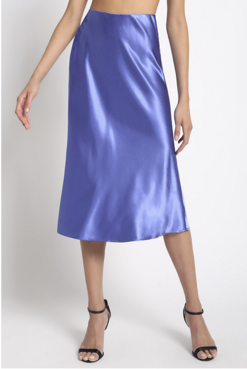 Elegant satin midi skirt