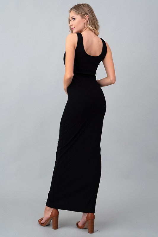 Women's Black Sleeveless Button-Front Ribbed Fitted Maxi Dress
