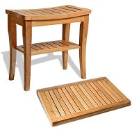 Load image into Gallery viewer, Bamboo Shower Stool with Storage Shelf and Floor Mat