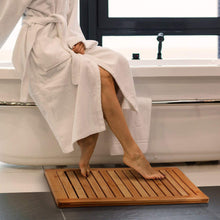 Load image into Gallery viewer, Bamboo Shower Seat Bench & Bathroom Floor Mat