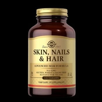 Solgar Skin, Nails & Hair, Advanced MSM Formula, 120 Tablets - Supports Collagen for Hair, Nail and Skin Health - Provides Zinc, Vitamin C & Copper - Non GMO, Vegan, Gluten & Dairy Free - 60 Servings