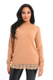 PULL PAILLETE TAUPE A DENTELLE