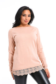 PULL PAILLETE ROSE A DENTELLE