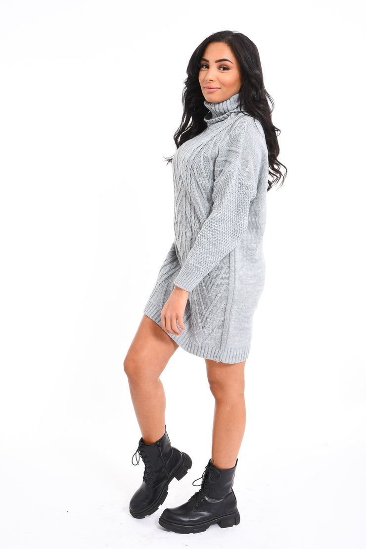 ROBE COL ROULE GRIS