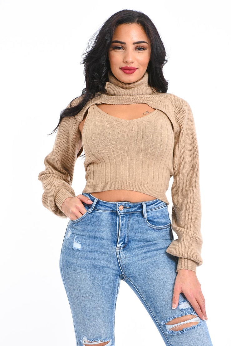 ENSEMBLE PULL COURT TAUPE