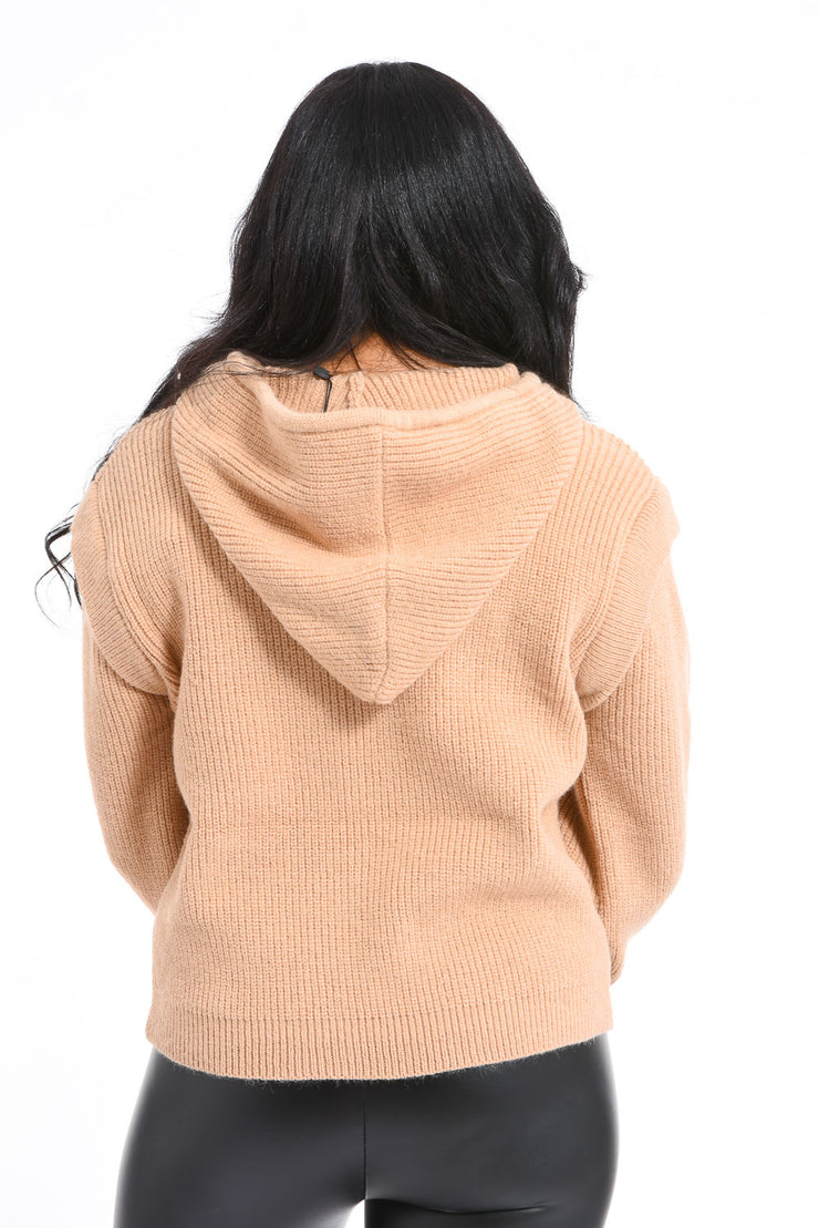 PULL TAUPE A CAPUCHE