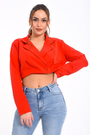 CROP TOP CHEMISIER ROUGE