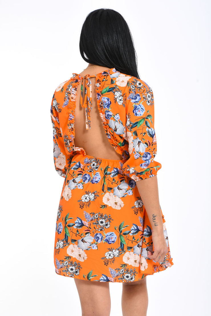 ROBE IMPRIME DOS NU ORANGE