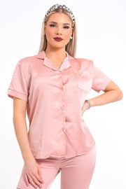 ENSEMBLE PYJAMA EN SATIN ROSE UNI