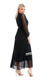 ROBE MANCHES LONGUES NOIR A STRASS