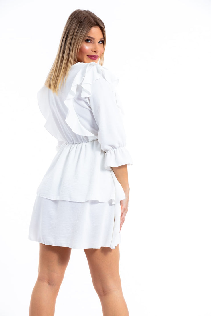 ROBE CHIC BLANC MANCHES LONGUES