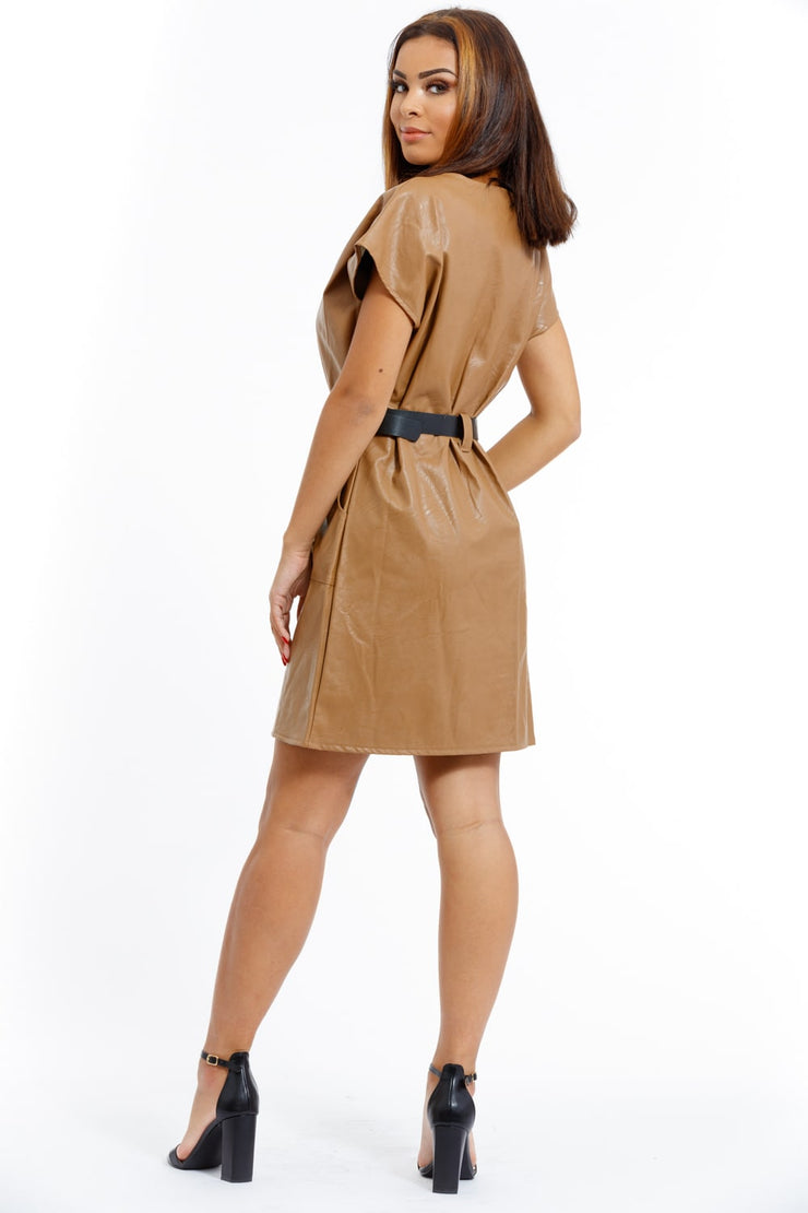 ROBE CHIC SIMILI CUIR CAMEL