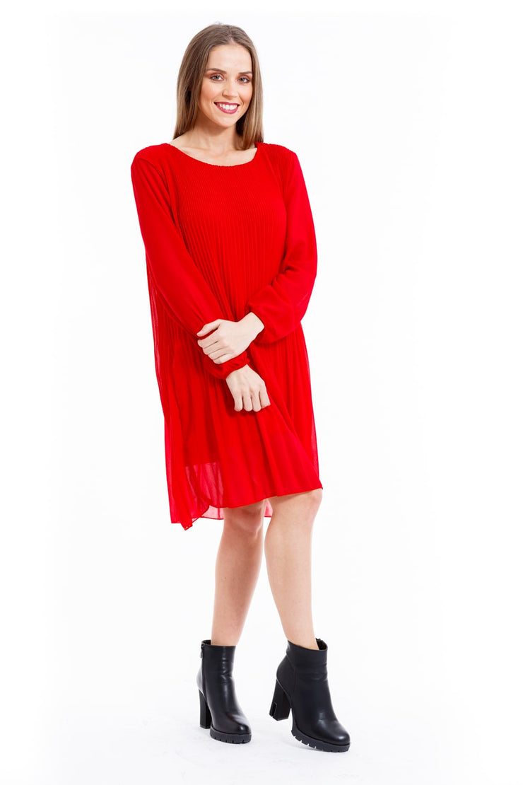 ROBE FLUIDE ROUGE MANCHES LONGUES