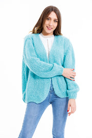 GILET COURT A MAILLE TURQUOISE