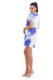 ROBE TEE SHIRT IMPRIME TIE AND DYE VIOLET